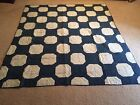 Antique Shirting Fabric New York 'BOW TIE' Hand Sewn Quilt Blue White 76
