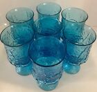 7 Vintage Turquoise Textured Glass Pedestal Goblets Embossed with flowers