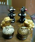 3 SETS OF OF SALT AND PEPER SHAKERS POODLE CLAY CORK BOTTOM FROGACCORN SET
