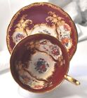 AYNSLEY Tea Cup and Saucer Paramount Marone 7700