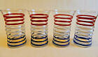Vintage Red White and Blue Curved Tumblers (Set of 4) VG124