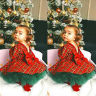 US Christmas Kids Baby Girls Plaid Dress+Tutu Skirts 2pcs Outfits Set Clothes