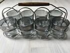 Set 8  Mid Century Modern Cocktail Old Fashion Rocks Glasses Silver Fade Smoke
