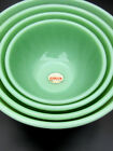 NEW OLD STOCK Fire King Jadite Jadeite Swirl Bowls Set of 4 COMPLETE with Tags