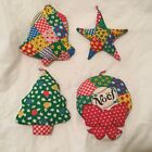 Four Christmas Patchwork Print Ornaments Handmade 100% Cotton print