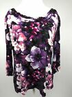 East 5th Shirt Womens Black Purple Sz XL Gathered Neckline Floral 3/4 Sleeves