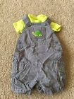 Carter's Newborn Boy Gray Checked/Lime Green Bodysuit, Overall Outfit