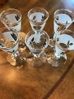 Vintage Set of 6  Libbey Frosted Gold Leaf Pattern Cordial Glasses