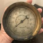 Antique Vtg US Gauge Williams Foundry Machine Steam Gauge Industrial Steampunk