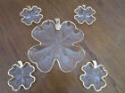 Vintage Set of 5 Four Leaf Clover shaped Dishes Clear Gold Trim Snack Set 1950s