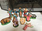 VINTAGE MADE IN ITALY 11 Pc CHALKWARE NATIVITY SET CRECHE