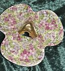 Vintage 50s Candy Dish, Floral Pattern with Gold Overlay