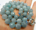 """Natural 10mm Faceted Round Blue Gray Aquamarine Gemstone Beads Necklacs 18"""""""