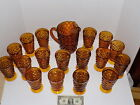 Vintage Indiana Glass Whitehall Cubist Amber Footed Drinking Glasses Set
