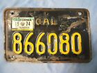 VINTAGE1963 CALIFORNIA MOTOR CYCLE LICENSE PLATE-BLACK/YELLOW-ORIG. CONDITION