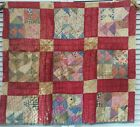 Antique Vintage Old Tattered Stained Turkey Red Patchwork Quilt Cutter Piece #4