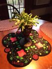 PRIMITIVE PENNY RUG STYLE CENTER TABLE/ CANDLE MAT