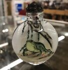 Chinese Reverse Painted Glass Frog Snuff Bottle With Metal SpoonCoral Stop
