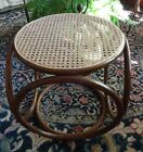 Vtg Bentwood Cane Wicker Bamboo Ottoman Foot Stool Thonet Style Mid Century
