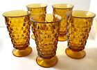 Amber Indiana Glass Whitehall Colony Cubist Footed Glasses Set Of 5