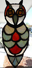 Vintage Stained Glass Owl In Stand 1980 Art Signed M.Lopez