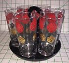 Vintage Juice Milk Tea Drink Drinking Glass Red Gold Glasses Black Holder Set