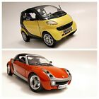 1 18 DIECAST LOT OF 2 SMART CARS FORTWO  ROADSTER