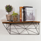 Modern Wall Mounted 24 Inch Wood  Metal Wire Floating Shelf