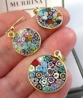 Vintage Style Sterling Silver Rainbow Millefiori Murrina BOXED Earrings Set