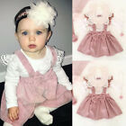 Toddler Kid Baby Girl Top T shirt Pink Suspender Skirt Dress Outfit Set Clothes