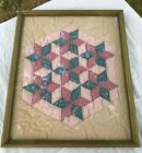 VTG Quilt Square Six Point Star Pink Blue 17