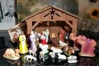 Vintage 24 Piece Plaster Chalkware Nativity Creche Cardboard Stable Italy