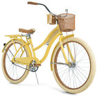 NEW 26 Huffy Nel Lusso Womens Cruiser Bike YELLOW Perfect Fit Frame w Basket