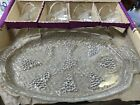 Vintage Anchor Hocking Crystal Serva- Snack Snack Trays 8 pc. Set Grape Design