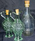 Vintage Grape Pattern Glass Cruets And Decanter