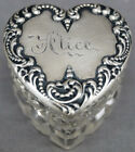Victorian Foster Bailey Sterling Silver Alice Cut Crystal Heart Trinket Ring Box