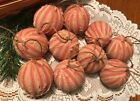 10 Striped Homespun Fabric Primitive Farmhouse Rag Ball Christmas Ornaments Lot