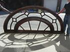 Very Large Vintage Arched Oak Eyebrow Transom Window with Diamond Motif