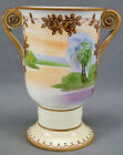 Nippon Morimura Hand Painted Trees & Lake Landscape Rose Moriage Vase 1911 - 21