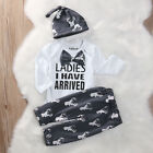 US Newborn Baby Boy Ladies I Have Arrived Top Romper+Pants Outfits Set Clothes