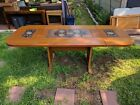 Scandinavian Mid-Century Drop Leaf Dining Table with Signed Ceramic Inserts