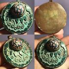 BEAUTIFUL ANCIENT MOSAIC GLASS RARE VINTAGE BRONZE PEDNANT#SH747