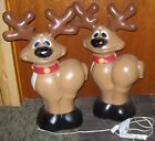 Lot of 2 General Foam Plastics Christmas Blow Mold Whimsy Reindeer 28