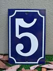 EXCELLENT! VINTAGE FRENCH New Old Stock Enameled Porcelain Number 5 Sign Plate