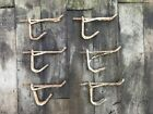 Lot 6 Vintage White Bent Wire Coat Hat Clothes Hooks Twisted Hangers