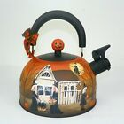 Halloween Tea Pot Hand Painted Primitive Folk Art Witch Pumpkins  RJPE