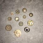 antique buttons Group Of 12 Old Glass, Celluloid, Metal