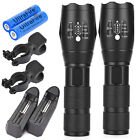 2 x Rechargeable 15000LM Zoom LED 5modes Flashlight 18650 Battery