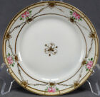6 Nippon Morimura Hand Painted Pink & Gold Roses Moriage Bread Plates 1911 - 21