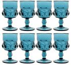 8 Vintage Indiana Glass KINGS CROWN THUMBPRINT Blue 5 3 4 Goblets 8 Ounce